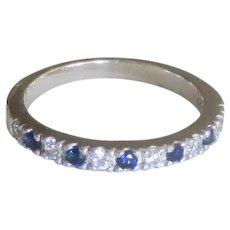 Estate Sterling Blue Topaz CZ Band Ring- Size 6  3/4