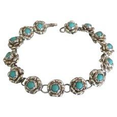 Pretty Taxco Sterling Roses Link Bracelet