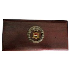 """Vintage Wooden Military """"National War College"""" Desk Accessory Box"""