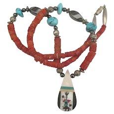 Zuni Kachina Drop Turquoise Coral Hematite Bead Necklace