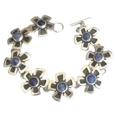 Vintage Sterling Lapis Flower Link Bracelet