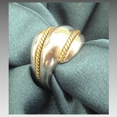 Attractive Vintage Swirled Sterling Silver Dome Ring- Size 7 1/2