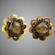 Vintage Miriam Haskell Tortoise Lucite, Tiger Stripe & Amber Ribbon Glass Bead Earrings