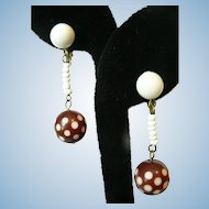 Vintage Germany Carved Bakelite Polka Dot Dangle Earrings