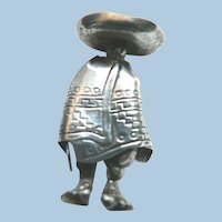 Very Old Mexican Sterling Silver Figural Brooch Senor Man in Poncho & Sandals