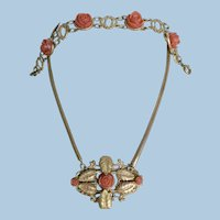 Incredible Vintage Celluloid Carved Coral Celluloid Roses Necklace & Bracelet Parure