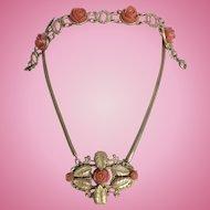 Incredible Vintage Celluloid Carved Coral Celluloid Roses Necklace & Bracelet Parure