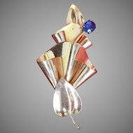 Vintage Large Art Deco Gold Plated Sterling Silver Brooch Pin