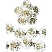 Fabulous KRAMER of N.Y. Full Parure Enamel  Rhinestone Flower Necklace, Bracelet & Earrings