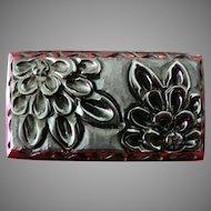 FABULOUS Deeply Carved 1930's Black Floral Bakelite Brooch Pin