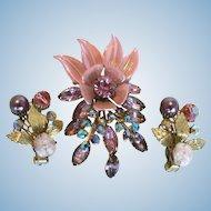 Fabulous Vintage Floral Pink Rhinestone, Enamel, & Aurora Borealis Brooch & Earring Set