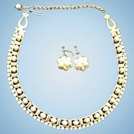 Vintage 1950's Clear Crystal Rhinestones & Simulated Pearl Necklace & Earrings Set