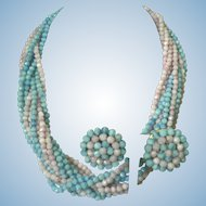 Vintage 1950's 12 Multi-Strand Bead Necklace & Matching Earrings Mini Parure