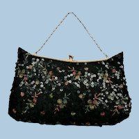 1940s-50s K.G. Charlet Beaded, Sequin & Embroidered Evening Bag Purse
