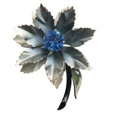 Vtg. Retro Lovely Layered Enamel & Rhinestone Flower Pin