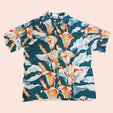 1960's DANO Rayon Hawaiian Aloha Calla Lily Shirt Honolulu Lg.