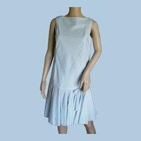 Vintage 1960s Lantz Original Robin Egg Blue Cotton Gingham Day Dress Sz. 9