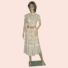 1950's Doris Dodson Two-piece Dress Linen Blend with Embroidery