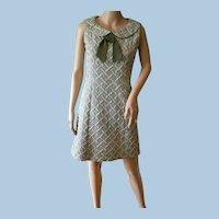 Vintage 1960s Green / White  Adele Martin Dress  Sz. 7/8 Summer Sleeveless