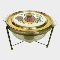 1950s Georges Briard Ambrosia Pattern Casserole Chafing Dish w.  Ceramic Glazed Tile Lid & Fire King 2qt. Gold Flex Dish
