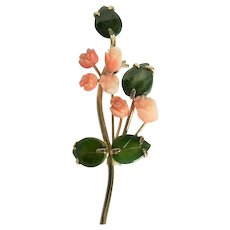 Gorgeous Genuine Carved Coral Rose Bud Flowers Carved Jade Leaves Pin Brooch
