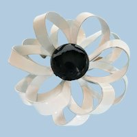 1960s Striking Dimensional Black / White Enamel Flower Pin