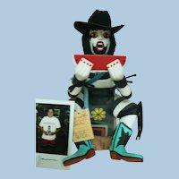 CR. 1994 Native American Hopi Clown & Watermelon Kachina /  Artist Floyd Jameson Signed & Photo of F. J.  Holding Kachina
