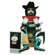 CR. 1994 Native American Hopi Clown & Watermelon Kachina /  Artist Floyd Jameson Signed & Photo of F. J.  Holding Kachina
