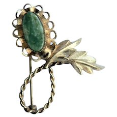 1950s Curtis Jewelry 14KT Gold Fill Jade Pin