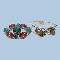 Vintage Coro Pegasus Pin & Bracelet Parure set