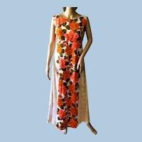 Vtg. 1960's Hawaiian Maxi Barkcloth Dress By Ui-Maikai Hibiscus Floral Print Ex. Cond.