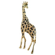 Trifari Large Giraffe Sparkly Rhinestones & Enamel Pin