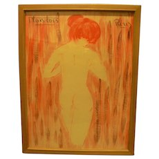 Mid-Century Nude Watercolor by European Artist Francois Paris