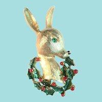 Beautiful Enamel & Rhinestone Deer with Holly Wreath Dimensional Pin
