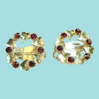 Vintage Red  Rhinestone Wreath Christmas or Any Day Clip Earrings Sparkly