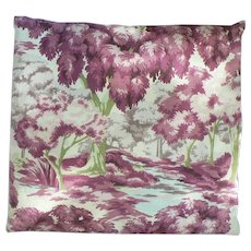 Vintage 1930's - 40's Barkcloth Pillow Woodland Brook Scene Feather Down Filled