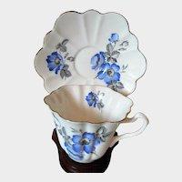 Vintage English Bone China Floral Cup & Saucer Set Blue Forget-Me-Nots