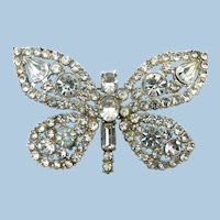 1940's Sparkly LARGE Rhodium Plated Rhinestone Butterfly Pin Brooch
