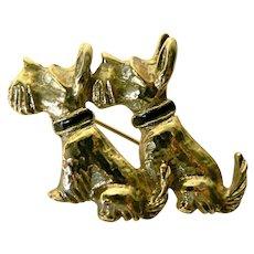 Vintage Scottish Scotty or Schnauzer Terrier Dog Pin Enameled & Rhinestone