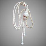 Vintage Handcarved Bone Long Tassel Necklace