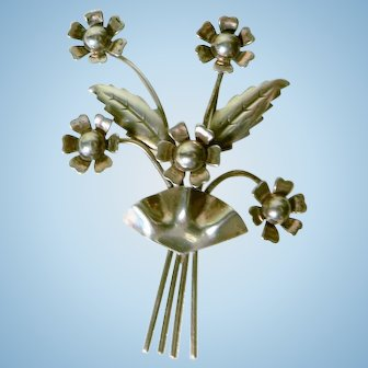 Vintage 1940's Signed Enzell Sterling Daisy Flower Spray Large Pin