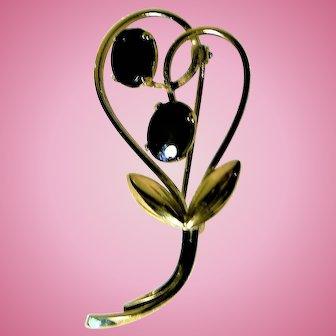 "Vintage ""WELLS"" 14K Gold Filled Onyx Pin"
