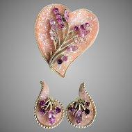 "Mid-Century Signed ""CORO"" Glittery Lucite & Rhinestone Brooch & Clip Earrings Set"