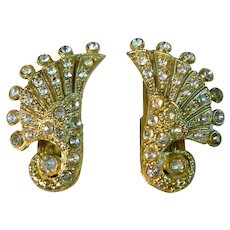 Beautiful Pair of Vintage Art Deco Dress Clips with White Rhinestones