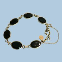 Vtg. Signed CATAMORE Black Onyx 12 GF Elegant Bracelet w/ Safety Chain