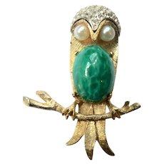 1960s Vtg. Figural Jelly Belly Barn Owl Pin Glittery Rhinestone / Faux Pearl & Malachite