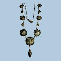 1940s Japanese 24K Gold & Sterling Damascene Scenes Dangle Necklace