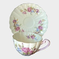 English Shelly Cup & Saucer Beautiful Fluted Floral Swag Pattern