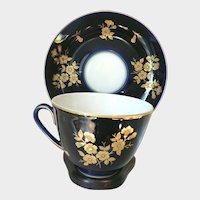 Vintage Russian USSR  Lomonosov Porcelain Cobalt Blue Cup & Saucer