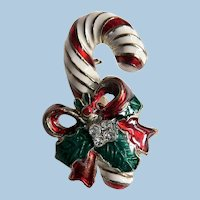 Circa 1950's Vintage Enameled & Rhinestone Christmas Candy Cane Pin